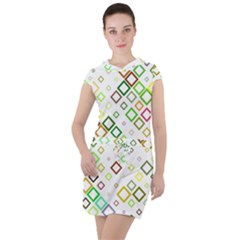 Square Colorful Geometric Style Drawstring Hooded Dress