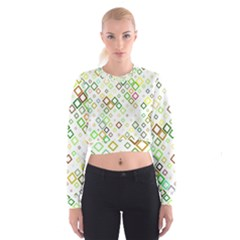 Square Colorful Geometric Style Cropped Sweatshirt