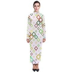 Square Colorful Geometric Style Turtleneck Maxi Dress