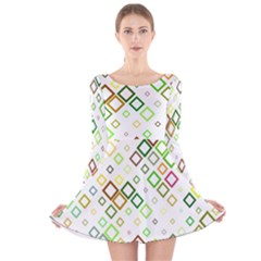 Square Colorful Geometric Style Long Sleeve Velvet Skater Dress
