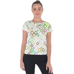 Square Colorful Geometric Style Short Sleeve Sports Top