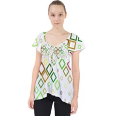 Square Colorful Geometric Style Lace Front Dolly Top