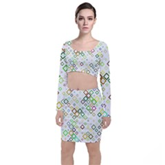 Square Colorful Geometric Style Top And Skirt Sets