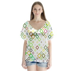 Square Colorful Geometric Style V Neck Flutter Sleeve Top