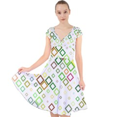 Square Colorful Geometric Style Cap Sleeve Front Wrap Midi Dress