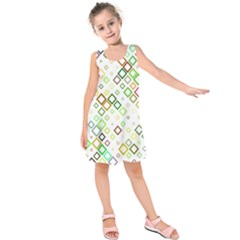Square Colorful Geometric Style Kids  Sleeveless Dress