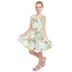 Square Colorful Geometric Style Kids  Short Sleeve Dress