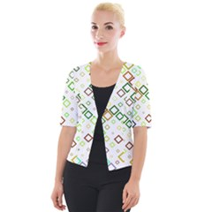 Square Colorful Geometric Style Cropped Button Cardigan by Alisyart