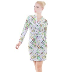 Square Colorful Geometric Style Button Long Sleeve Dress