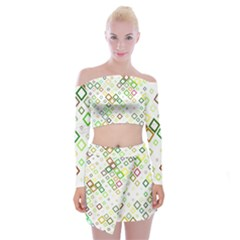 Square Colorful Geometric Style Off Shoulder Top With Mini Skirt Set