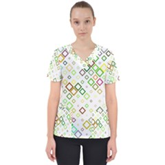 Square Colorful Geometric Style Women s V Neck Scrub Top