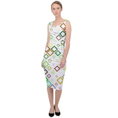 Square Colorful Geometric Style Sleeveless Pencil Dress