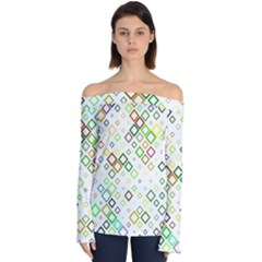 Square Colorful Geometric Style Off Shoulder Long Sleeve Top