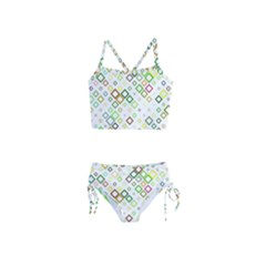 Square Colorful Geometric Style Girls  Tankini Swimsuit