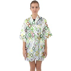 Square Colorful Geometric Style Quarter Sleeve Kimono Robe