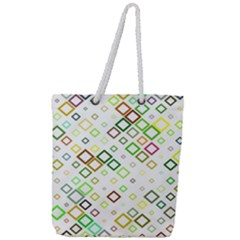 Square Colorful Geometric Style Full Print Rope Handle Tote (large)