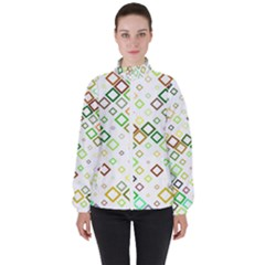 Square Colorful Geometric Style High Neck Windbreaker (women)