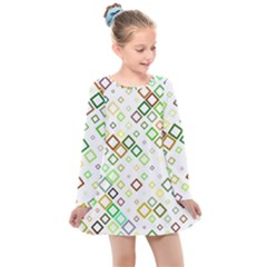 Square Colorful Geometric Style Kids  Long Sleeve Dress by Alisyart