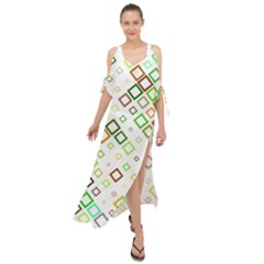 Square Colorful Geometric Style Maxi Chiffon Cover Up Dress