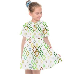 Square Colorful Geometric Style Kids  Sailor Dress