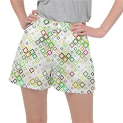 Square Colorful Geometric Style Stretch Ripstop Shorts by Alisyart