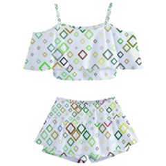 Square Colorful Geometric Style Kids  Off Shoulder Skirt Bikini