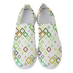 Square Colorful Geometric Style Women s Slip On Sneakers by Alisyart