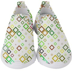 Square Colorful Geometric Style Kids  Slip On Sneakers by Alisyart