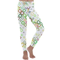 Square Colorful Geometric Style Kids  Lightweight Velour Classic Yoga Leggings by Alisyart