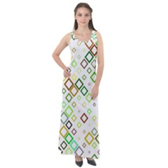 Square Colorful Geometric Style Sleeveless Velour Maxi Dress