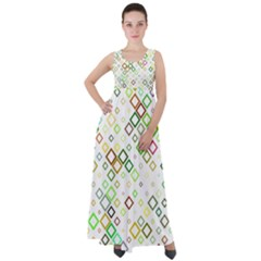Square Colorful Geometric Style Empire Waist Velour Maxi Dress