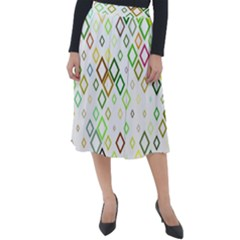 Square Colorful Geometric Style Classic Velour Midi Skirt