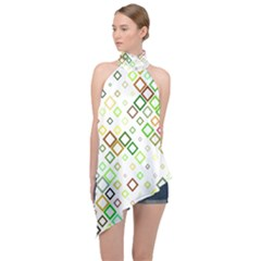 Square Colorful Geometric Style Halter Asymmetric Satin Top by Alisyart