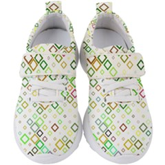 Square Colorful Geometric Style Kids  Velcro Strap Shoes