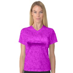 Triangle Pattern Seamless Color V Neck Sport Mesh Tee