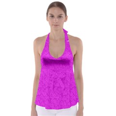 Triangle Pattern Seamless Color Babydoll Tankini Top
