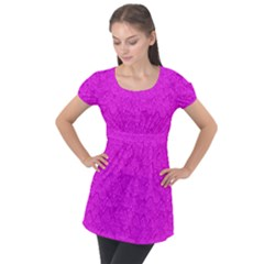 Triangle Pattern Seamless Color Puff Sleeve Tunic Top