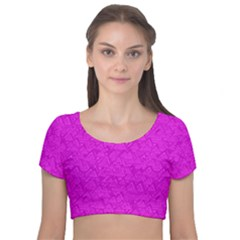 Triangle Pattern Seamless Color Velvet Short Sleeve Crop Top  by Alisyart