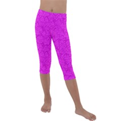 Triangle Pattern Seamless Color Kids  Lightweight Velour Capri Leggings  by Alisyart