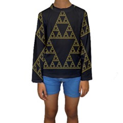 Sierpinski Triangle Chaos Fractal Kids  Long Sleeve Swimwear by Alisyart