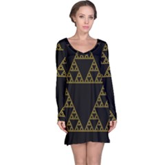 Sierpinski Triangle Chaos Fractal Long Sleeve Nightdress