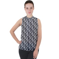 Seamless Repeating Pattern Mock Neck Chiffon Sleeveless Top by Alisyart
