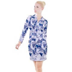 Triangle Blue Button Long Sleeve Dress