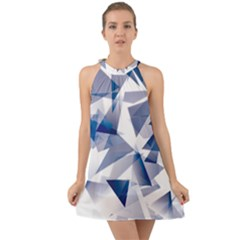 Triangle Blue Halter Tie Back Chiffon Dress by Alisyart