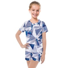 Triangle Blue Kids  Mesh Tee And Shorts Set by Alisyart