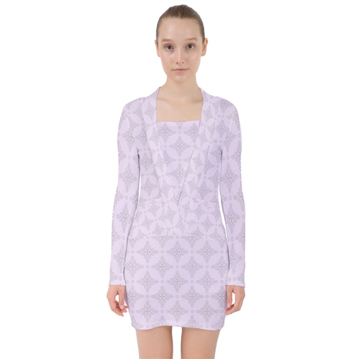 Star Pattern Texture Background V-neck Bodycon Long Sleeve Dress