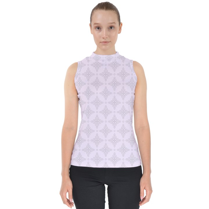 Star Pattern Texture Background Mock Neck Shell Top