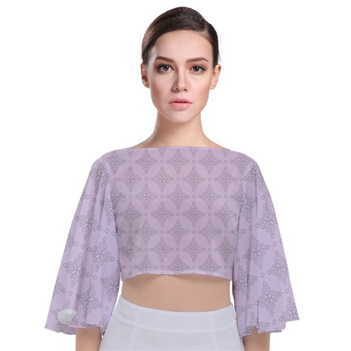 Star Pattern Texture Background Tie Back Butterfly Sleeve Chiffon Top