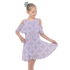 Star Pattern Texture Background Kids  Shoulder Cutout Chiffon Dress