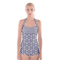 Ornamental Checkerboard Boyleg Halter Swimsuit  by Mariart